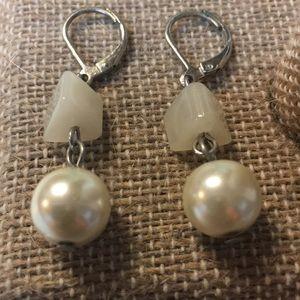 Jewelry - Silver-tone faux pearl earrings.